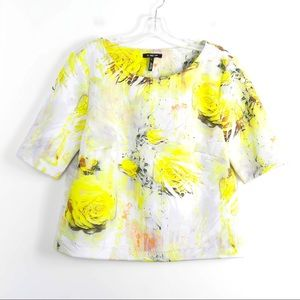 Abstract print yellow floral neoprene short loose